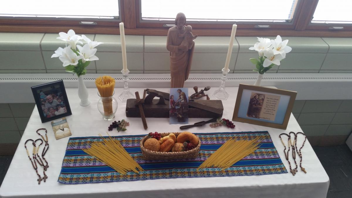 Pacelli Catholic High School in Steven's Point set up their Altar in the school cafeteria to educate students about Padre Jose during the month of March.